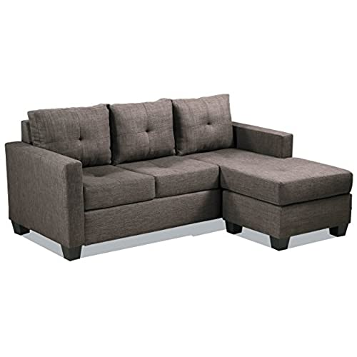 Homelegance Phelps Contemporary Tufted Sectional Sofa With Reversible Chaise,  Grayish Brown