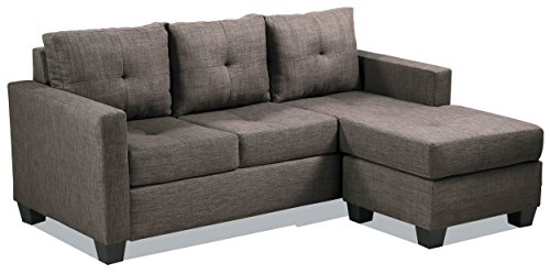 3 Piece Small Sectional - Homelegance Phelps Contemporary Tufted Sectional Sofa with Reversible Chaise, Grayish Brown