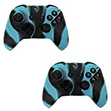 HDE 2 Pack Silicone Gel Rubber Protective Skin Grip for Xbox One Wireless Game Pad Controllers (Marble Blue/Black)