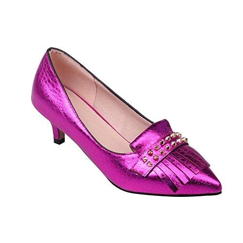 MissSaSa Damen modern Kitten-heel Low-cut Pointed Toe Pumps mit Nieten und Quaste Violett