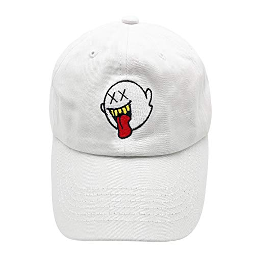 zhidan wei Distressed Boo Dad Hat Embroidered Baseball Cap Cotton Hat Ponytail for Men and Women White