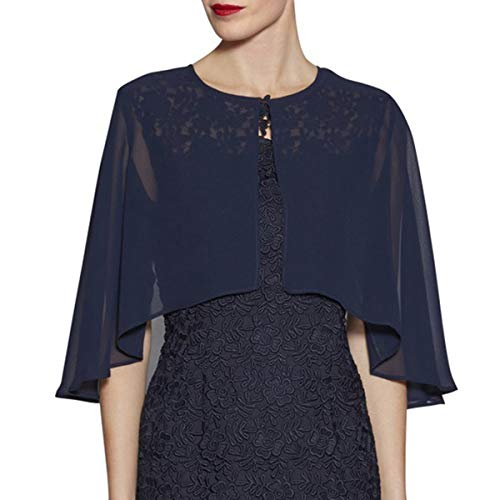 LANSITINA Chiffon Shrug Wraps for Evening Bridal Party Plus Size Soft Open Front Back Capes Cloaks, Dark Navy