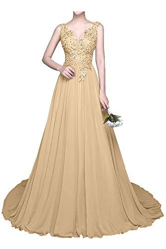 Brautmutterkleider mia mit Chiffon Abendkleider Champagner Partykleider La Spitze Festlichkleider Kleider Braut Sommer Langes dAgqngwaI