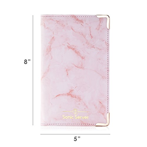 Sonic Server Marble Style Deluxe Server Book for Restaurant Waiter Waitress Waitstaff | Millennial Pink | 9 Pockets includes Zipper Pouch with Pen Holder | Holds Guest Checks, Money, Order Pad by Sonic Server (Image #2)'