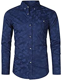 Men's Casual Slim Fit Long Sleeve Button Down Shirts 100% Cotton Printed Dress Shirts