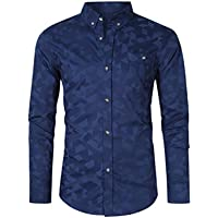MrWonder Men's Cotton Casual Slim Fit Long Sleeve Printed Shirt (Dark Blue)