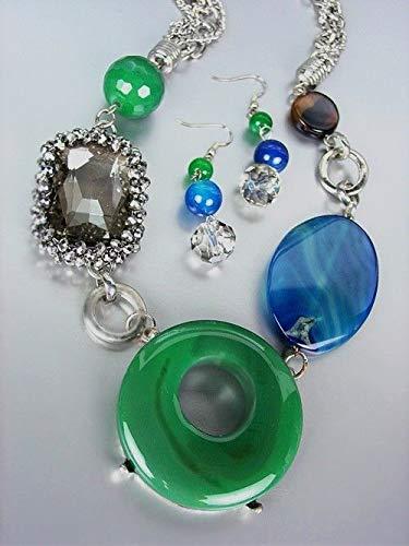 Green Quartz Smoky Necklace (EXQUISITE Green Jade Cabachon Blue Agate Smoky Quartz Hematite Necklace Set)