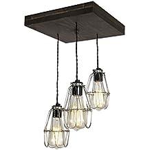 Old Elm Wood Multi Pendant Light (W/Nickel Cages)
