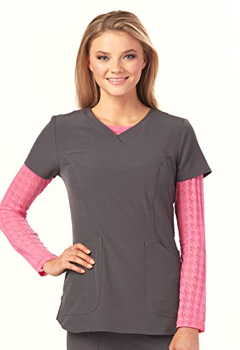 (Heartsoul Women's Long Sleeve Houndstooth Print Underscrub T-Shirt X-Small Love U Houndstooth Pink Party)