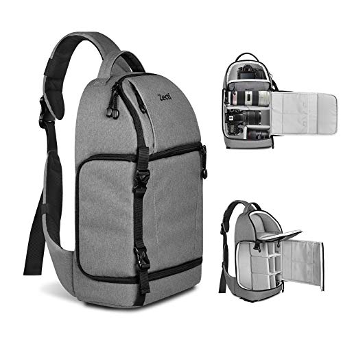 Zecti Sling Camera Bag for DSLR Camera (Canon Nikon Sony Pentax Olympus and etc.) Gray ()