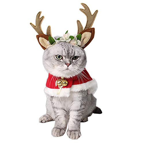 MR. STRONG Pet Elk Antler Reindeer Hat with Cloak Pet Costume with Flowers Holiday Christmas Clothes with Reindeer…