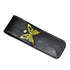 Features: Made of PU leather material.Great to carry and protect your knife.It is very safe for use.So Cool, As a Gift for Your Friends.Portable design, easy to carry and storage.Specifications:Material: PU leatherColor: blackSize: 145mmPacka...
