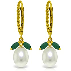 14k Solid Gold Leverback Earrings with Emeralds and Pearls