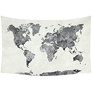 Amazon society6 minimalist world map black on white background interestprint abstract splatter wall art home decor world map in watercolor painting gray tapestry wall gumiabroncs Images