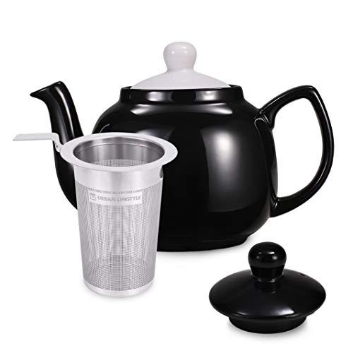 Urban Lifestyle Tetera clasica inglesa de ceramica Oxford de 1,2 L con filtro de te de acero inoxidable (negro)