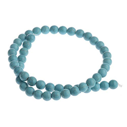 Mikash 1 String Black Lava Stone Jewelry Making Loose Beads 15 DIY Bracelets | Model BRCLT - 8080 | Turquoise Stone
