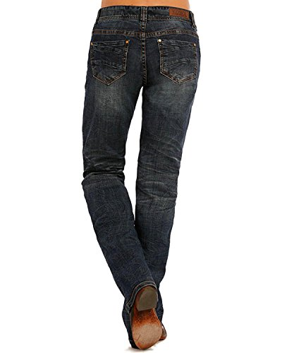 Rock and Roll Cowgirl Women's and Blue Stitched Riding Jeans Boot Cut Blue 34W x - Bootcut Jeans Stitched Gold