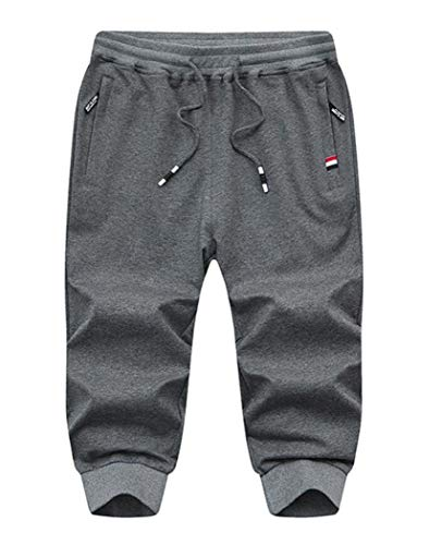 - Amoystyle Men's 3/4 Capri Pants Jogger Running Shorts Dark Gray Asian 2XL