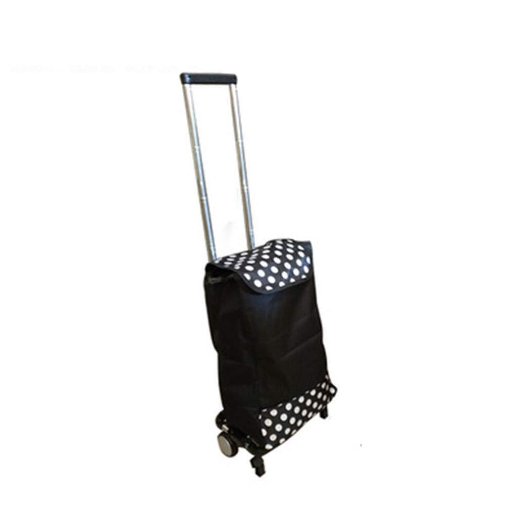トロリー折りたたみ式ステンレス鋼ポータブル荷物カート多機能食料品ショッピングトレーラーホームホームショッピングに適した,Black,Withshoppingbag B07QDFLWDV Black Withshoppingbag