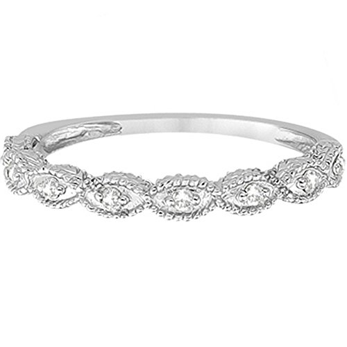 14k Gold Antique Marquise Shape Diamond Wedding Ring (0.10ct)