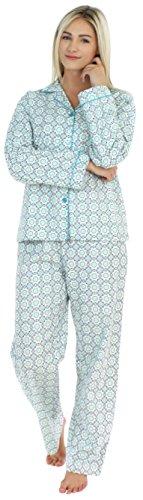 PajamaMania Women's Sleepwear Flannel Long Sleeve Pajamas PJ Set- Blue Circles (Flannel Pajama Set)