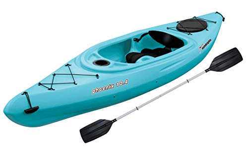 SUN Dolphin Phoenix 10.4 Fishing Holiday Vacation River Lake Sit-in Kayak, Paddle Included (Sea Blue) (Blue Kayak)