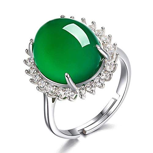 (Duan 925 Sterling Silver Green Agate Crystal Ring Emerald Vintage Inlaid Opening Adjustable Female Ring Wedding Engagement Jewelry)