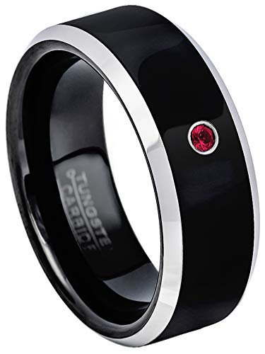 Jewelry Avalanche 0.07ct Ruby Tungsten Ring - July Birthstone Ring - 8MM Comfort Fit Matte 2-Tone Black & Rose Gold Stepped Edge Tungsten Carbide Wedding Band -14 ()