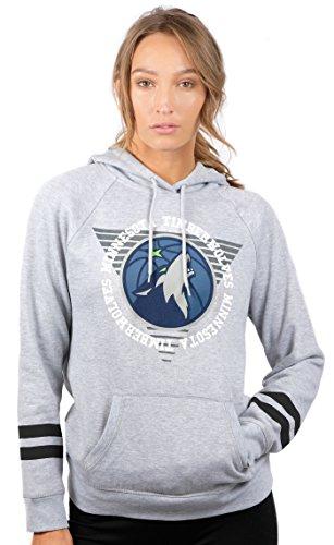 fan products of NBA Women's Minnesota Timberwolves Fleece Hoodie Pullover Sweatshirt Varsity Stripe, Small, Gray