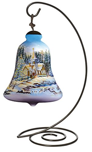 Ne'Qwa Bell Shaped Glass Ornament with Classic Hanging Stand,