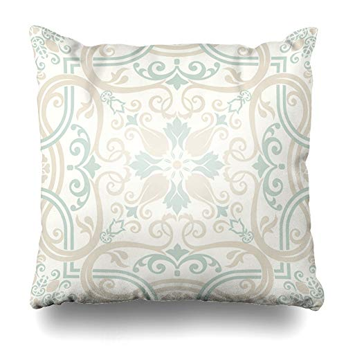 Ahawoso Throw Pillow Cover Old Beige Pattern Vintage Victorian Motives Pastel in Rococo Color Retro Abstract Antique Design Zippered Pillowcase Square Size 20 x 20 Inches Home Decor Cushion Case