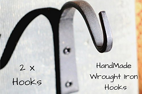 Wrought Iron Hooks Wrought Hooks Hanger Wrought Iron hooks for Lantern Wrought Iron Hooks for Coat Wrought Iron Hooks Rustic Wrought Iron Hooks for Hanging Wrought Iron Hooks Vintage - 2 Hooks!