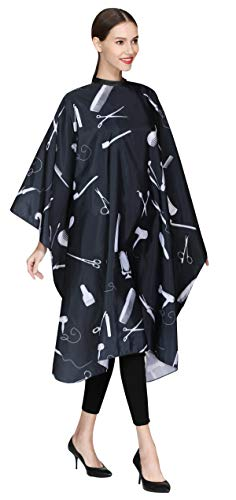 Barber Hair Cutting Cape, Salon Hair Styling Cape Cover for Adults Clients-Black