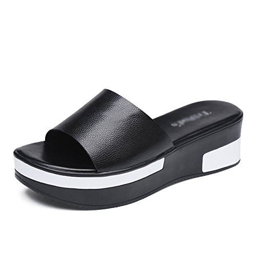 Lady amp;chanclas Xia Tendencia Negro Sandals Slippers Bottom Summer Thick Soft Antideslizante Rhinestone dtqrq1xwB