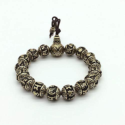 (Vintage Tibetan Buddhism Brass Silver Plated Charm Rope Bracelet | Six Words Lotus Prayer Beads Bracelet | for Men)