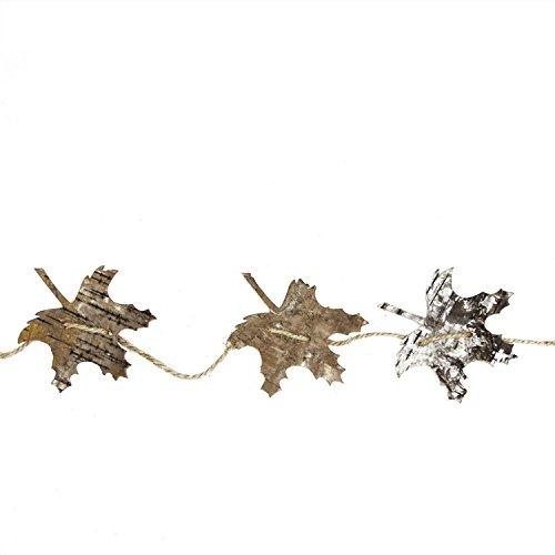 5' Natural Brown Birch Bark Oak Leaf Artficial Christmas Garland - Unlit