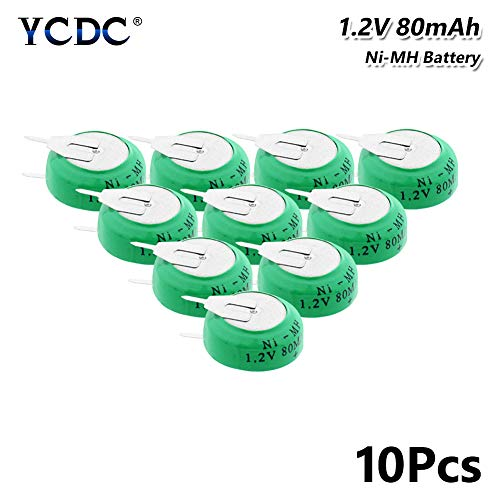10Pcs 1.2V 80mAh Ni-MH Button Coin Battery Cell Pack Rechargeable with 2 Pins 10Pcs 1.2V 80mAh Ni-MH Button Battery Rechargeable Coin Cell with Solder Tabs (9-6 V Eztec Rechargeable Ni Mh Battery Pack)