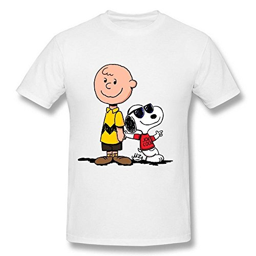 AICH Men's Charlie Brown and Snoopy Joe Cool White T Shirt Size XL