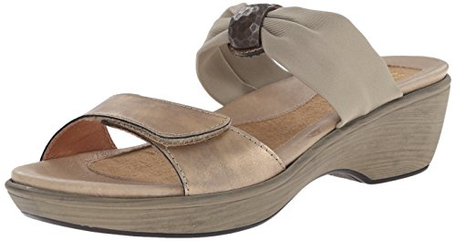 Naot Women's Pinotage Dress Sandal, Brass Leather/Taupe Stretch, 39 EU/8-8.5 M US by NAOT