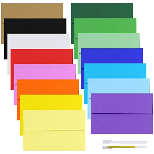 Supla 90 Pack 15 Colors A9 Invitation Envelopes Self Seal Greeting Card Envelopes Photos Envelopes White Ivory Red Green Kraft Yellow Pink Blue Envelops Square Flap Announcements Envelopes ()