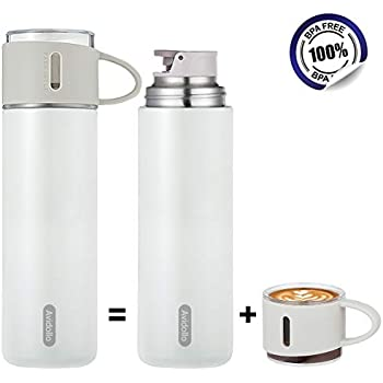 Avidollo Thermos Vacuum Insulated 16 Ounce Stainless Steel Water Bottle, White