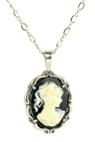 Sterling Silver Vintage Style Small Resin Cameo Pendant with Chain
