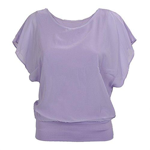 TOOGOO (R)Femmes Couleurs de bonbons Chemisier de carriere en mousseline de soie Chemisier cintree a manches bouffantes Chemisier Violet S