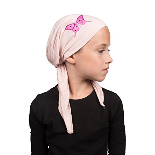 Girls Head Scarf - Sequin Butterfly Child's Pretied Head Scarf Cancer Cap - Light Pink