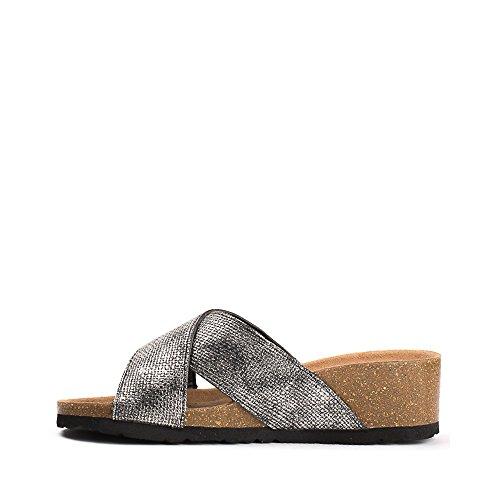 Ideal Shoes, Damen Zehentrenner Schwarz