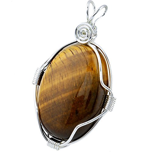 TUMBEELLUWA Wire Wrapped Pendant Necklace Oval Stone Pendant Chakra Reiki Healing Energy Crystal, Tiger's ()