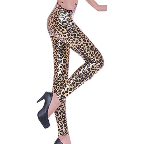 Hibote Normali Signore Vita Vita Leopard Donne 2 Alta Pantaloni Bagnate Sguardo Alta Vita Ghette Ecopelle Bassa rfrRAx
