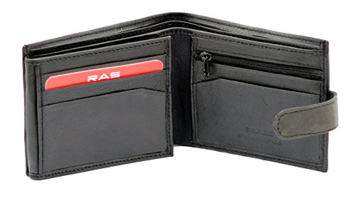 RAS® Männer Echte Weiche Leder Brieftasche Kreditkartenhalter Geldbörse Mit ID-Fenster & Sichere Reißverschluss Münze Tasche