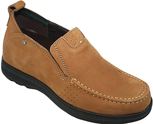 CALDEN Men Leather 3 Inches Casual Shoes Brown