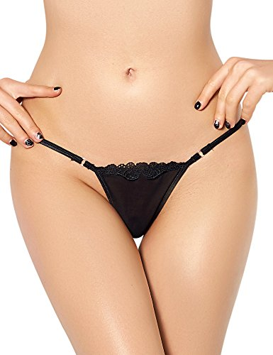 cb7f477d229 Zerolove Plus Size Lace G-String Sexy Lingerie T-Back Thongs Panties Black